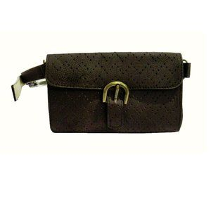 STYLE & CO BROWN LEATHER XL BELT BAG:$40.00